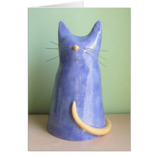An Artsy Blue Cat Figurine Greeting Cards