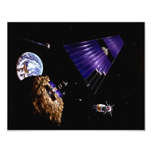 An asteroid mining mission photo print