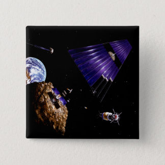 An asteroid mining mission pinback button