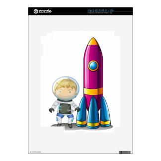 An astronaut beside a rocket iPad 2 skins