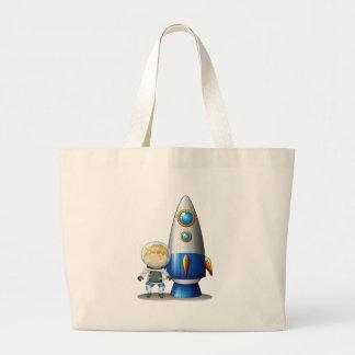 An astronaut beside the airship jumbo tote bag
