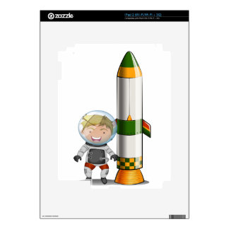 An astronaut beside the rocket decal for iPad 2