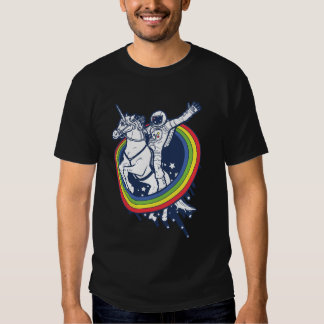 An astronaut riding a uncorn through a rainbow t-shirt