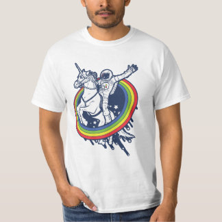 An astronaut riding a uncorn through a rainbow t shirt