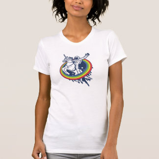 An astronaut riding a unicorn through a rainbow t-shirt