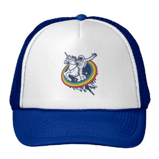 An astronaut riding a unicorn through a rainbow trucker hat