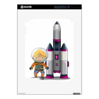 An astronaut standing beside the big spaceship skin for the iPad 2