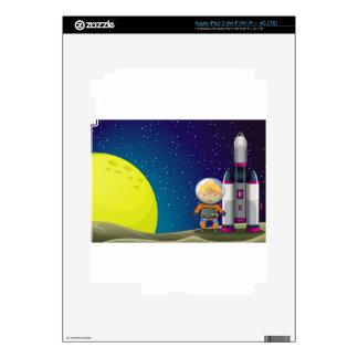 An astronaut standing beside the rocket near the m iPad 3 decals