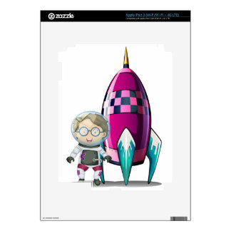 An astronaut with a glass standing beside the spac decals for iPad 3