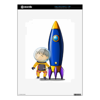 An astronaut with an orange suit standing beside t decal for the iPad 2