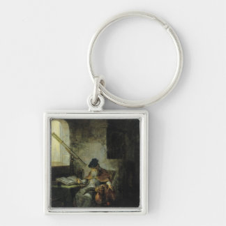 An Astronomer Silver-Colored Square Keychain