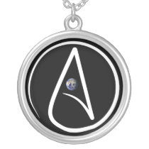 An Atheist necklace with a globe in the middle.