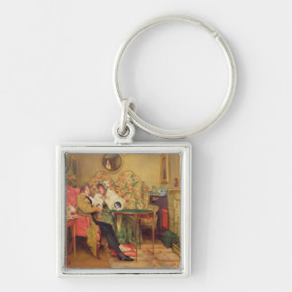 An Attentive Visitor Silver-Colored Square Keychain
