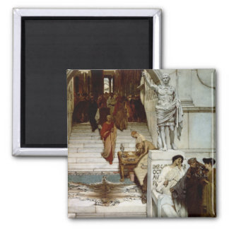 An Audience at Agrippa's, 1875 (oil on canvas) 2 Inch Square Magnet