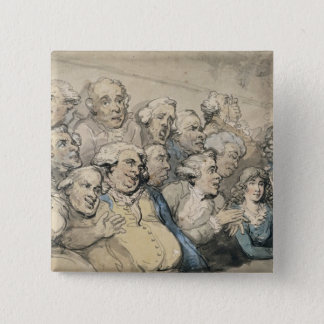 An Audience at Drury Lane Theatre (pen & ink and w Pinback Button