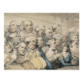 An Audience at Drury Lane Theatre (pen & ink and w Postcard