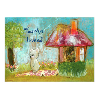 An Auspicious Day, You Are Invited, Mouse Artwork 4.5x6.25 Paper Invitation Card