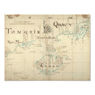 "An Authentic 1690 Pirate Map 4.25"" X 5.5"" Invitation Card"