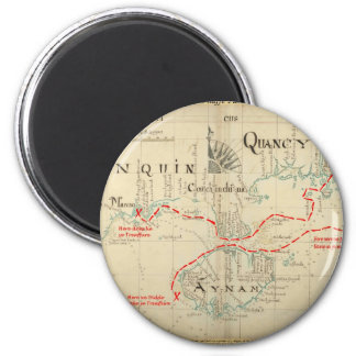 An Authentic 1690 Pirate Map (with embellishments) 2 Inch Round Magnet