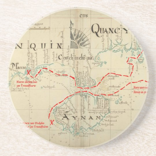 An Authentic 1690 Pirate Map (with embellishments) Drink Coaster