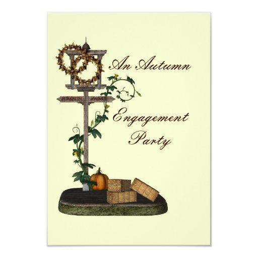 """An Autumn Engagement Party"" Street Sign/Wreaths Custom Invites"