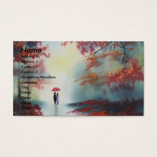 an autumn walk on a rainy day by Gordon Bruce Business Card