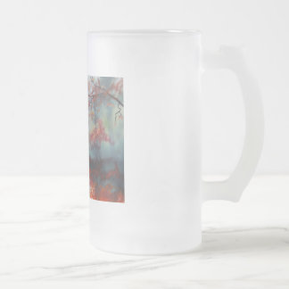 an autumn walk on a rainy day by Gordon Bruce Frosted Glass Beer Mug
