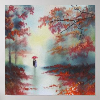 an autumn walk on a rainy day by Gordon Bruce Poster