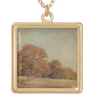 An Autumnal Landscape at East Bergholt, c.1805-08 Gold Plated Necklace