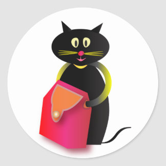An awesome cat and its bag. classic round sticker