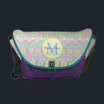 "An Aztec Boho Pastels Monogram School Work Girly Courier Bag<br><div class=""desc"">Take this unique pastel pattern boho Aztec style messenger bag back to school or off to work. A little bit girly, a little bit American Southwest, the mixed patterns in loose stripes is my original hand drawn pattern transformed into a colorful statement piece. Add your monogram and name in the...</div>"