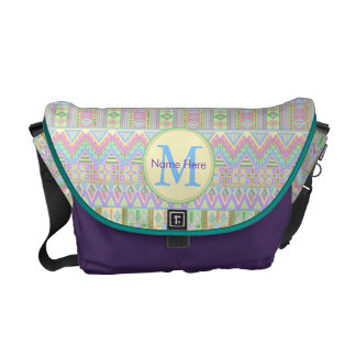 An Aztec Boho Pastels Monogram School Work Girly Courier Bag