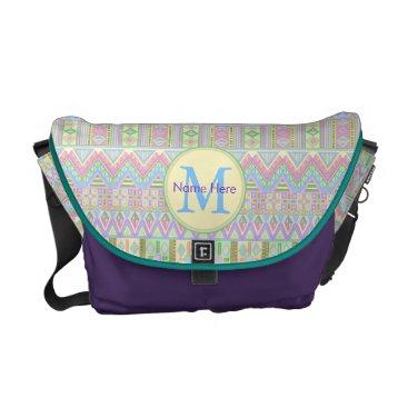 ArtfulDesignsByVikki An Aztec Boho Pastels Monogram School Work Girly Courier Bag