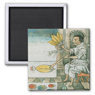 An Aztec feather artisan 2 Inch Square Magnet