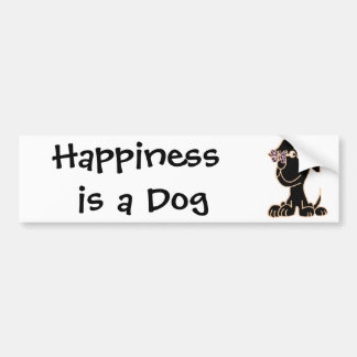 AN- Black Puppy Dog with Butterfly on Nose Car Bumper Sticker