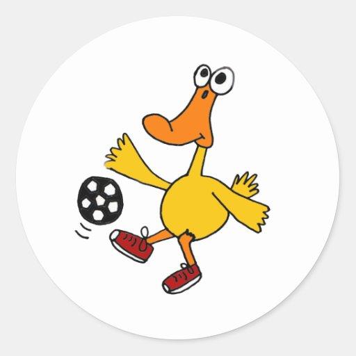 AN- Duck Playing Soccer Cartoon Round Sticker
