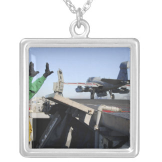 An EA-6B Prowler launches from the flight deck Square Pendant Necklace
