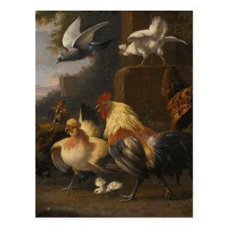 An Eagle, a Cockerell, Hens, a Pigeon in Flight Postcard