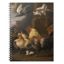 An Eagle, a Cockerell, Hens, a Pigeon in Flight Spiral Notebook