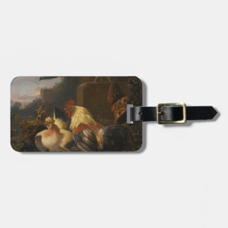 An Eagle, a Cockerell, Hens, a Pigeon in Flight Tag For Luggage