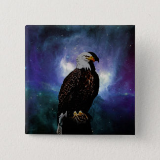 An eagle in the mirror pinback button