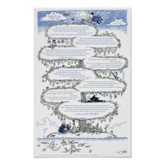 An Edward Lear New Year Illustrated Poem Poster