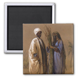 An Egyptian Man and His Wife 2 Inch Square Magnet