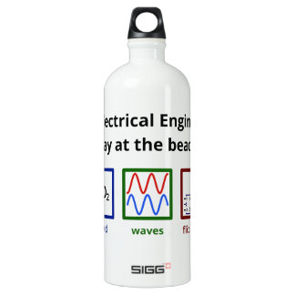 An Electrical Engineer's day at the beach Aluminum Water Bottle