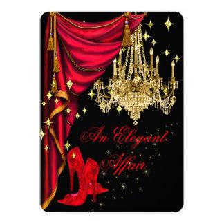 An Elegant Affair Red Gold Chandelier Birthday Card