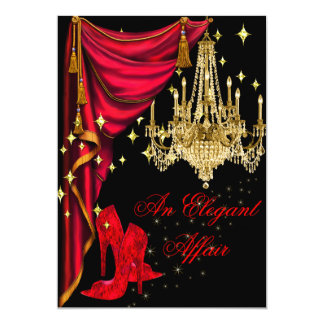 An Elegant Affair Red Gold Chandelier Birthday Invitation