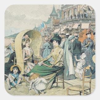 An Elegant Beach, 1887 Square Stickers