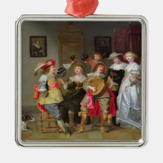 An Elegant Company Merry-making in an interior Metal Ornament