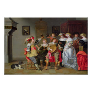 An Elegant Company Merry-making in an interior Poster
