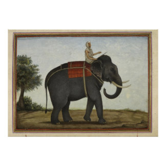 An Elephant Keeper Riding His Elephant (1825) Poster